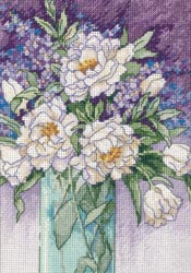 click here to view larger image of White Peonies (counted cross stitch kit)