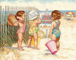 click here to view larger image of Beach Babies (counted cross stitch kit)