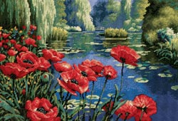 click here to view larger image of Lakeside Poppies (needlepoint kits)