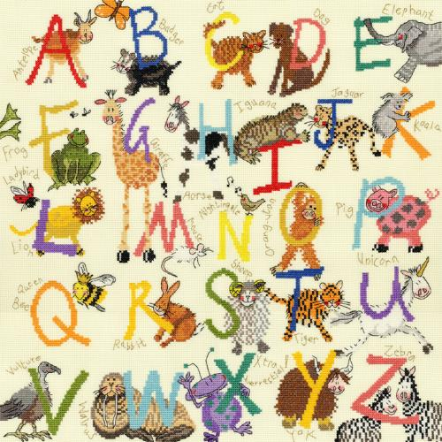click here to view larger image of Animal Alphabet Sampler (kit) (counted cross stitch kit)