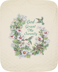 click here to view larger image of Serenity Hummingbird Quilt  (stamped cross stitch kit)