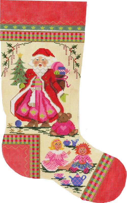 click here to view larger image of Santa and the Dolly Tea Party Stocking (hand painted canvas)
