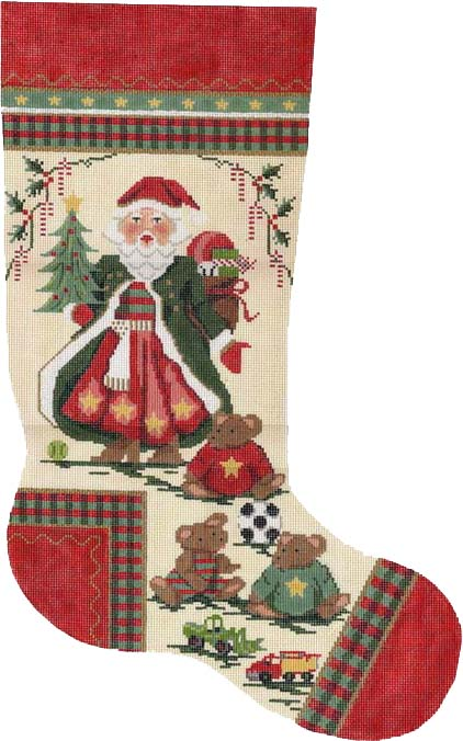 click here to view larger image of Santa W/Teddies Stocking (hand painted canvas)