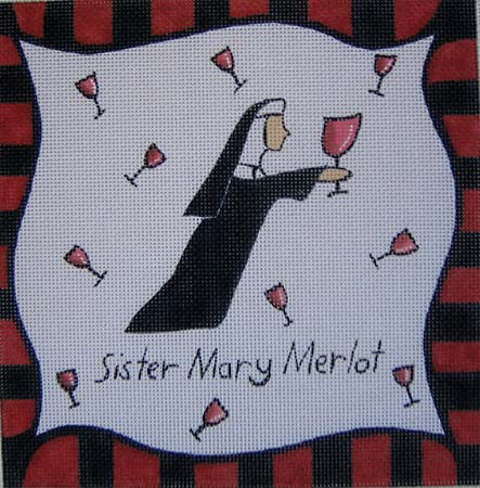 click here to view larger image of Sister Mary Merlot (hand painted canvases)