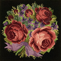 click here to view larger image of Violets and Roses (Floribunda) (needlepoint)