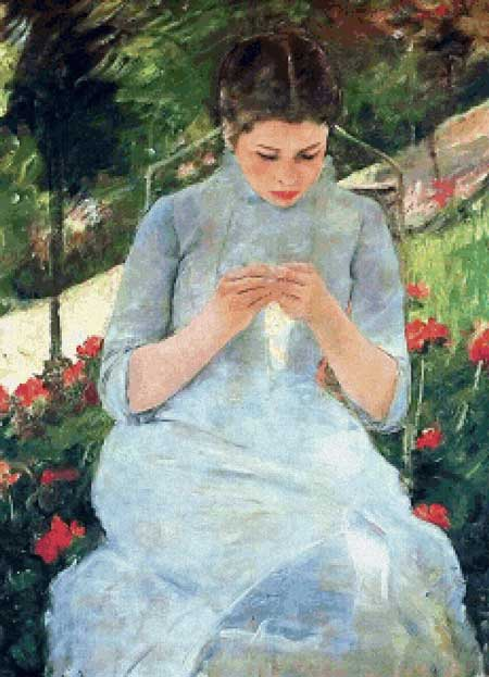 click here to view larger image of Young Woman Sewing in a Garden (chart)