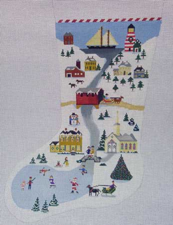 click here to view larger image of New England Stocking (hand painted canvases)