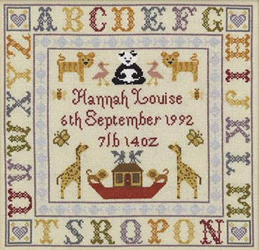 click here to view larger image of Alphabet Birth Sampler (KIT) (counted cross stitch kit)