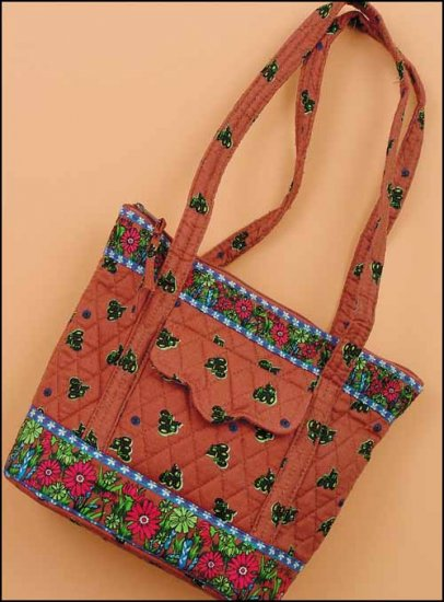 click here to view larger image of Ashley Quilted Tote - Tractor Print on Rose (accessory)