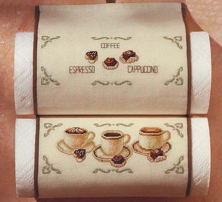 click here to view larger image of Coffee Kitchen Towel Holder (counted cross stitch kit)