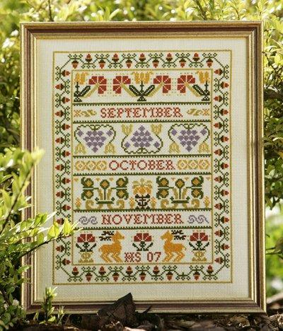 click here to view larger image of Autumn Band Sampler (KIT) (counted cross stitch kit)