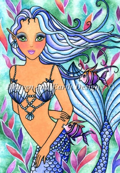 click here to view larger image of  Caribbean Blue Mermaid - Quick Stitch (chart)