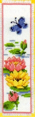 click here to view larger image of Butterfly and Waterlily Bookmark (counted cross stitch kit)