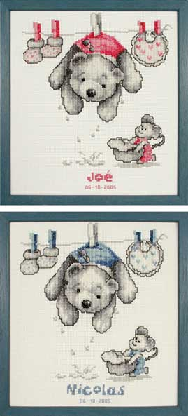 click here to view larger image of Baby Laundry Birth Sampler (counted cross stitch kit)