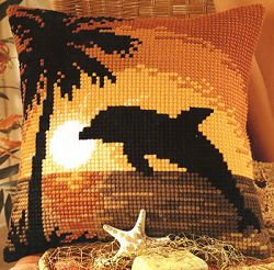click here to view larger image of Dolphin Sunset (chunky cross stitch kit)