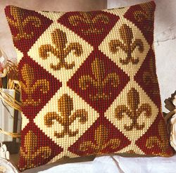 click here to view larger image of Fleur de Lis Cushion (chunky cross stitch kit)