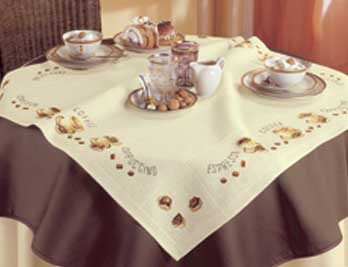 click here to view larger image of Coffee Tablecloth - Vervaco (counted cross stitch kit)