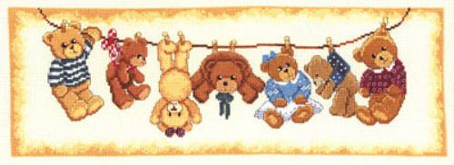 click here to view larger image of Teddy Laundry (counted cross stitch kit)