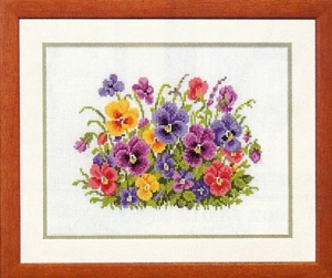 click here to view larger image of Pansy Heaven (counted cross stitch kit)