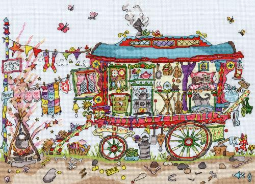 click here to view larger image of Cut Thru Gypsy Wagon (chunky cross stitch kit)