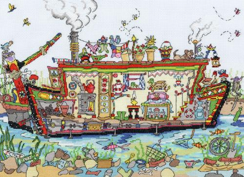 click here to view larger image of Cut Thru Narrow Boat (counted cross stitch kit)