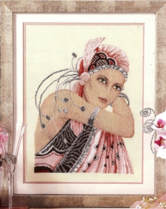 click here to view larger image of Lady In Pink (counted cross stitch kit)