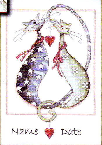 click here to view larger image of Purrfect Together (counted cross stitch kit)