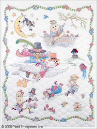 click here to view larger image of Mary Engelbreit Mother Goose Crib Cover  (stamped cross stitch kit)