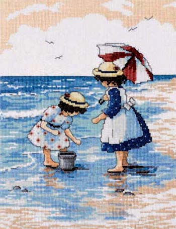 click here to view larger image of Gathering Seashells (counted cross stitch kit)