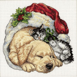 click here to view larger image of Christmas Morning Pets (counted cross stitch kit)