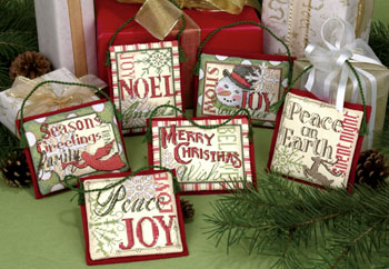 click here to view larger image of Christmas Sayings Ornaments (counted cross stitch kit)