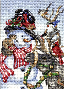 click here to view larger image of Snowman & Reindeer (counted cross stitch kit)