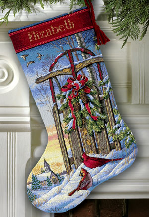click here to view larger image of Christmas Sled Stocking (counted cross stitch kit)