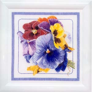 click here to view larger image of Flower Collection 2 - Linen (counted cross stitch kit)