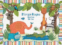 click here to view larger image of Mod Zoo Birth Record  (counted cross stitch kit)