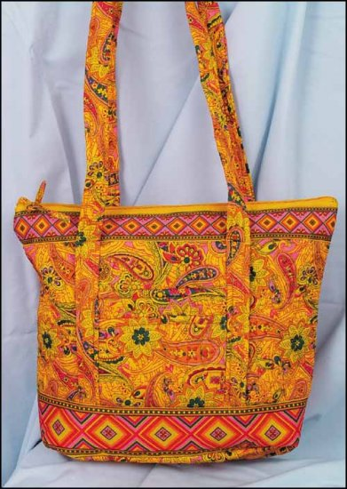 click here to view larger image of Laura Quilted Tote - Nacho Orange Print (accessory)