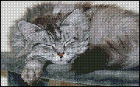 click here to view larger image of Tired Silver Tabby Cat  (chart)
