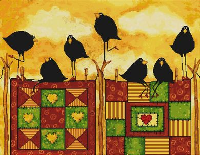 click here to view larger image of Quilting Crows (w/stitched background) (chart)