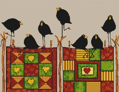click here to view larger image of Quilting Crows (w/o stitched background) (chart)