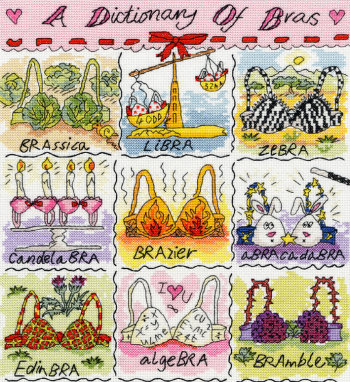 click here to view larger image of Dictionary of Bras, A (counted cross stitch kit)