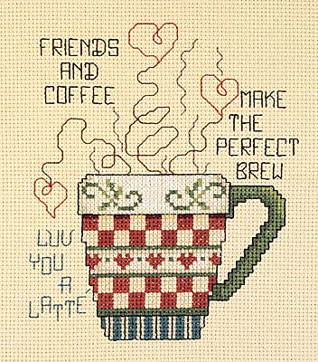 click here to view larger image of Friends and Coffee (counted cross stitch kit)
