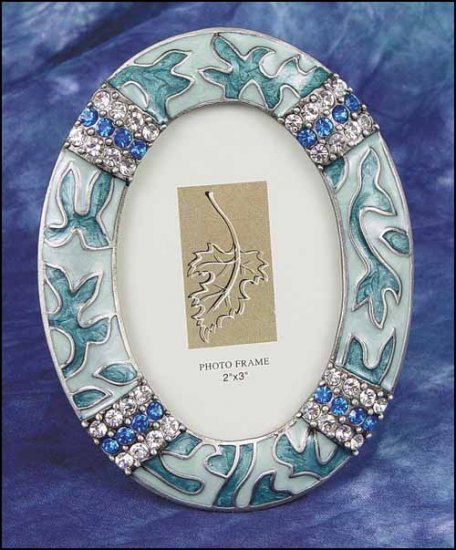 click here to view larger image of Decorative Frame - Blue Enamel Oval Frame (frame (ready made))
