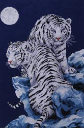 click here to view larger image of Moonlit Tigers (counted cross stitch kit)
