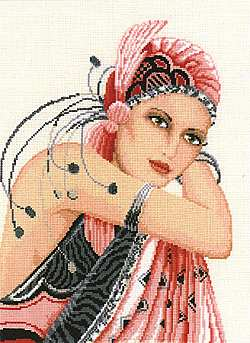 click here to view larger image of Pink Lady  (with linen) (counted cross stitch kit)
