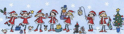 click here to view larger image of Row of Christmas Fairies (kit) (counted cross stitch kit)