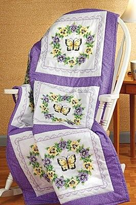 click here to view larger image of Pansy Wreath Stamped Quilt Blocks (stamped cross stitch)
