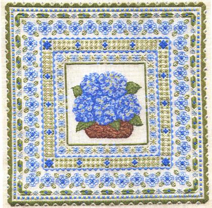 click here to view larger image of Blue Hydrangea (counted canvas chart)