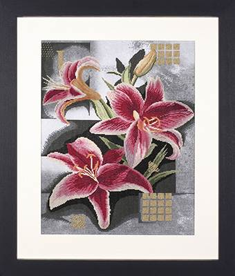 click here to view larger image of Composition of Pink Lilies - 27ct (counted cross stitch kit)