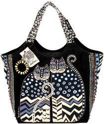 click here to view larger image of Spotted Cats -  Large Scoop Tote w/Zipper Top  (accessory)