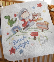 click here to view larger image of Brave Knight Crib Cover (stamped cross stitch kit)